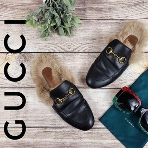 Gucci Princetown Leather Fur Lined Mules Black 37